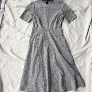 ZARA WOMAN Grey Tweed Shirt Dress Midi Medium